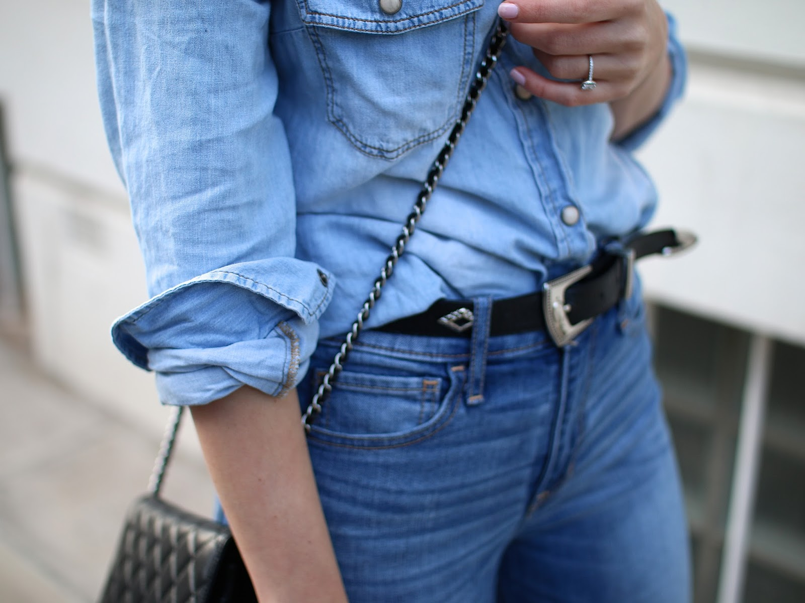 how to make the double denim trend look effortless, vintage western belt, chanel wallet on chain