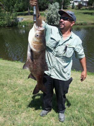 Mike Medina with a 34lb Asian Bighead carp caught on a fly