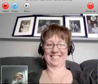 picture of Mrs. Cassidy and Dr. Strange skyping