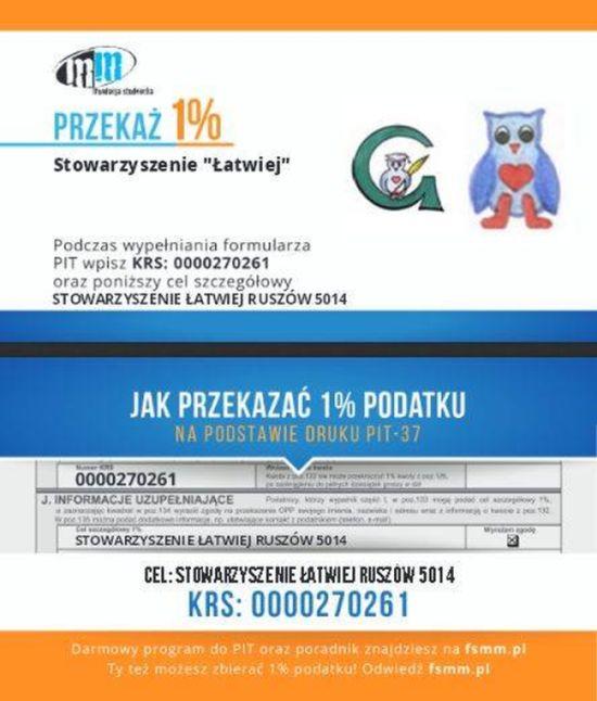 """1% dla Stowarzyszenia """"Łatwiej"""" przy Szkole Podstawowej w Ruszowie"""