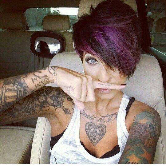 sexy purple highlights - haircut
