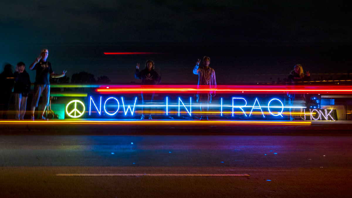 San Diego Overpass Light Brigade Against Another War In Iraq
