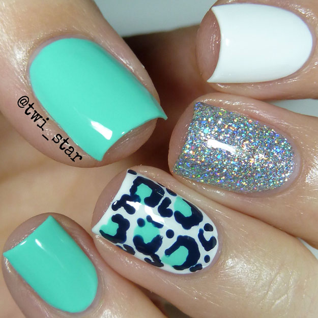 Aqua White and Silver leopard nail art - Twi-star Nail Art Blog: Aqua And White Leopard Nails - Bestie Twin