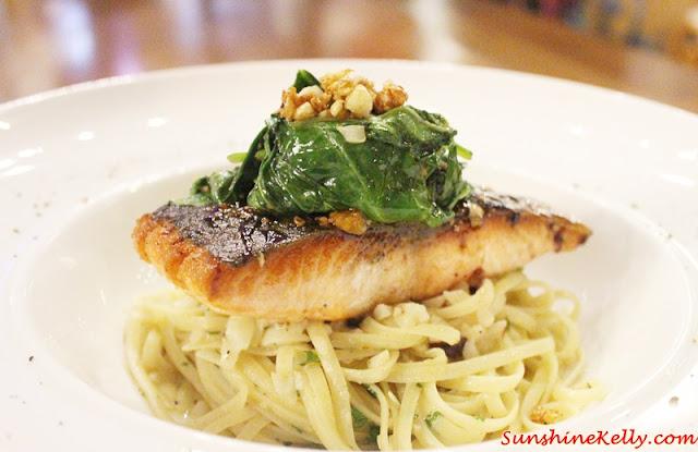 Teriyaki Salmon, Spinach, Fettuccine, La Casa, Verve Suites, Mont Kiara,
