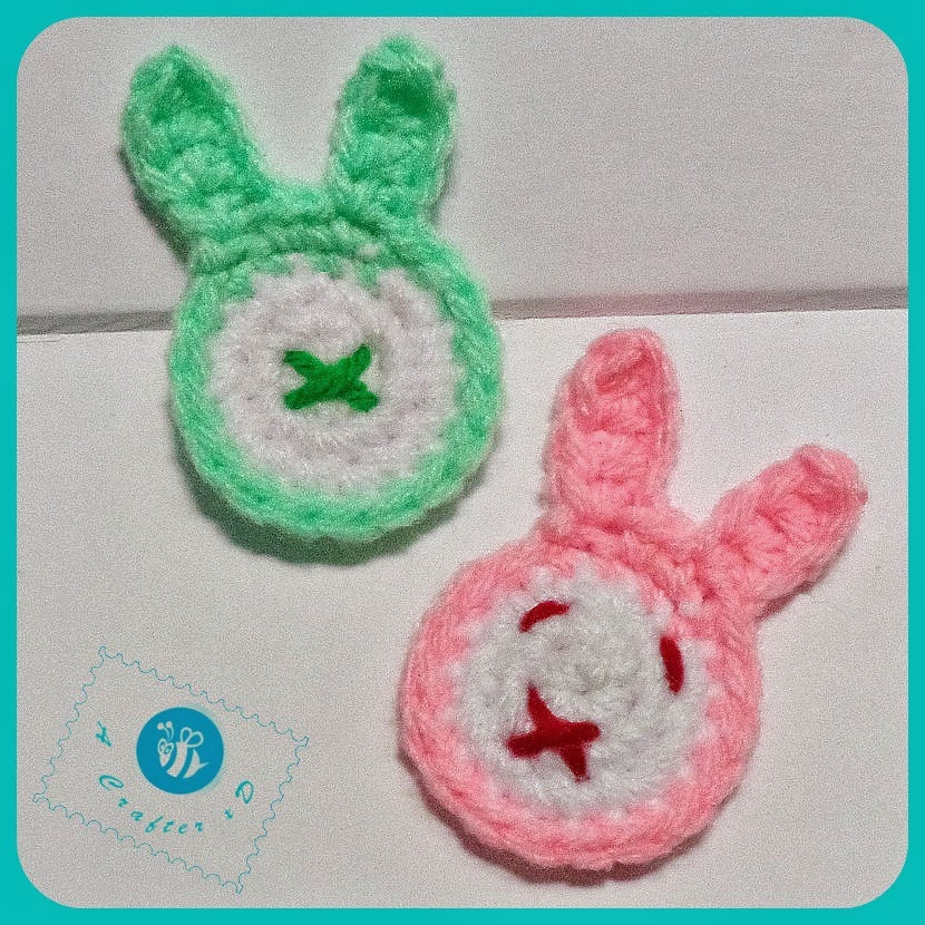 Bunny head applique, crochet bunny applique