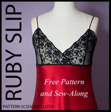 Pattern Scissors Cloth Ruby Slip Sewalong