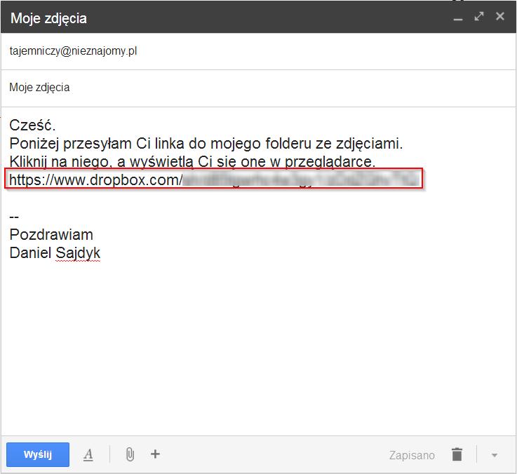 Wiadomość e-mail z wklejonym łączem do udostępnionego folderu ze zdjęciami