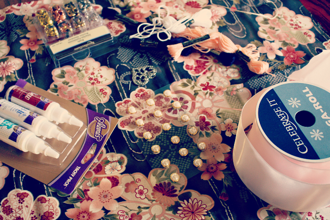 Supplies for DIY Vintage Bridal Sash