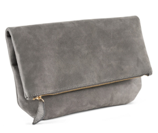grey leather clutch bag Heather Belle