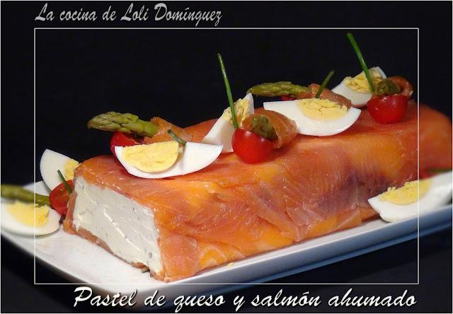 Pastel de queso y salmón ahumado