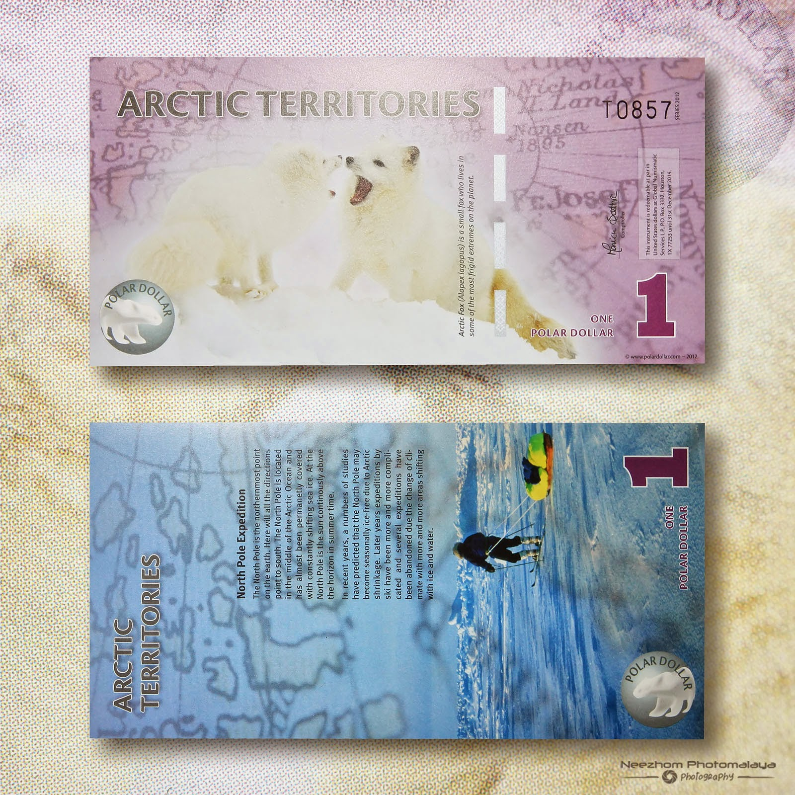 One Dollar 2012 Arctic polymer Banknote