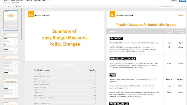 Budget summary 2013