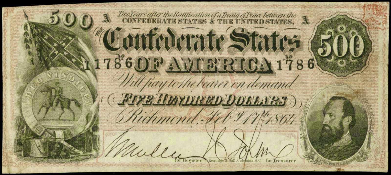 Confederate currency 500 Dollar bill 1864 Stonewall Jackson