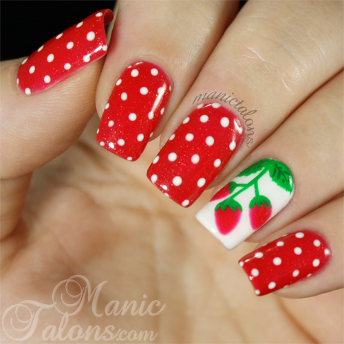 Strawberry Manicure with Gelaze Strawberry Fields