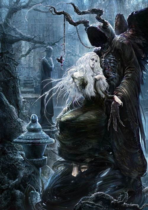 Kuang Hong illustrations fantasy dark grim Last wish