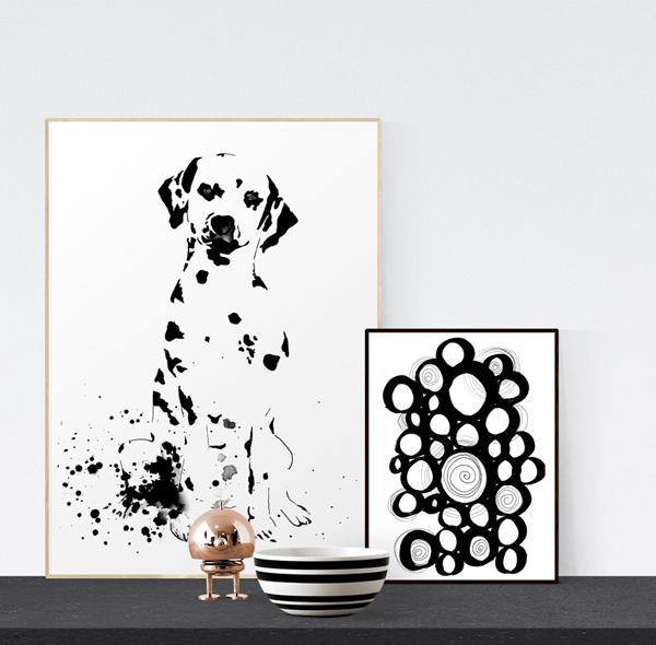 dalmatin, dalmatiner, dalle, hund, hundar, grafiskt, grafiska, tavla, tavlor, poster, posters, konsttryck, artprint, artprints, på väggen, annelies design & interior, anneliesdesign, annelie palmqvist, svart och vitt, svartvit, svartvita, svart, vitt, vit, vita, konst, print, prints,