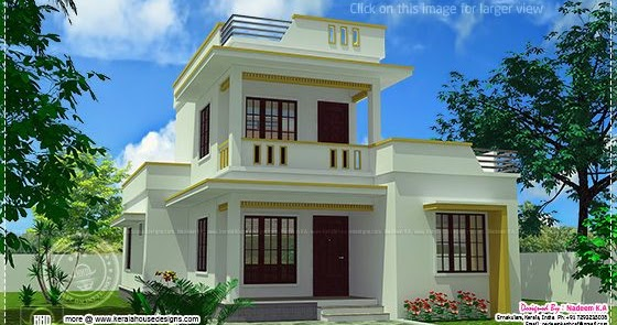 Simple flt roof home design in 1305 sq feet Home Kerala