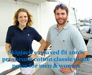The racing Skipjack polo shirts for men and women.