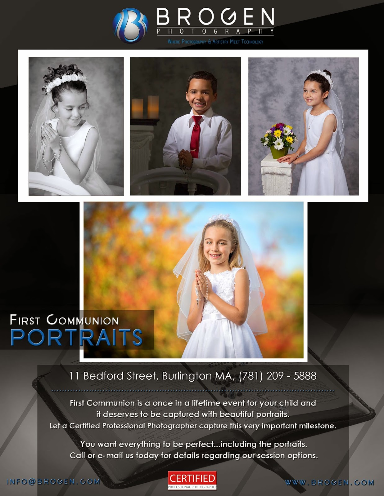 First Communion Portraits, Holy First Communion Portraits, Child Portraits, Senior Portraits, Executive Portraits, Family Portraits