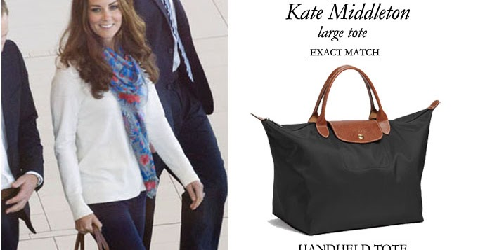 2706bb95d245 WHAT SHE WORE  Kate Middleton with Longchamp Le Pliage black tote with  leather straps ~ I want her style - What celebrities wore and where to buy  it.