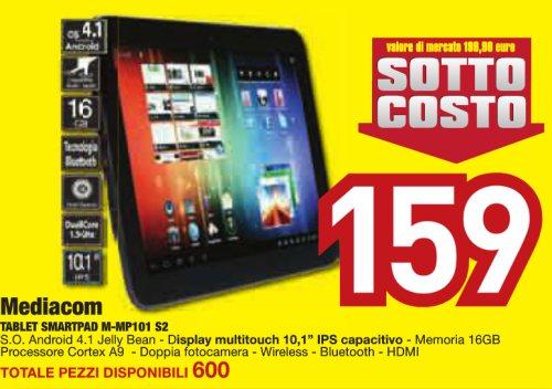 Euronics vende a prezzo sottocosto il tablet 10 pollici Jelly Bean Mediacom Smart Pad 10.1 S2