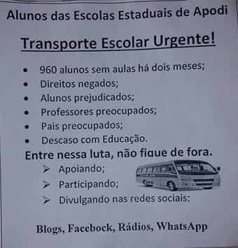 ESTUDANTES DE APODI NO PREJUÍZO POR FALTA DE TRANSPORTE!
