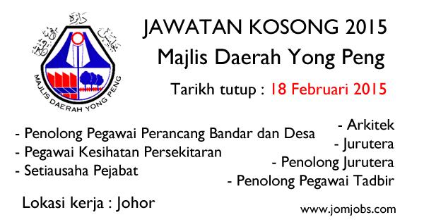 Jawatan Kosong Majlis Daerah Yong Peng Johor 2015