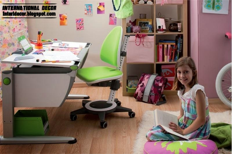 childrens desk and green chair, childrens table designs