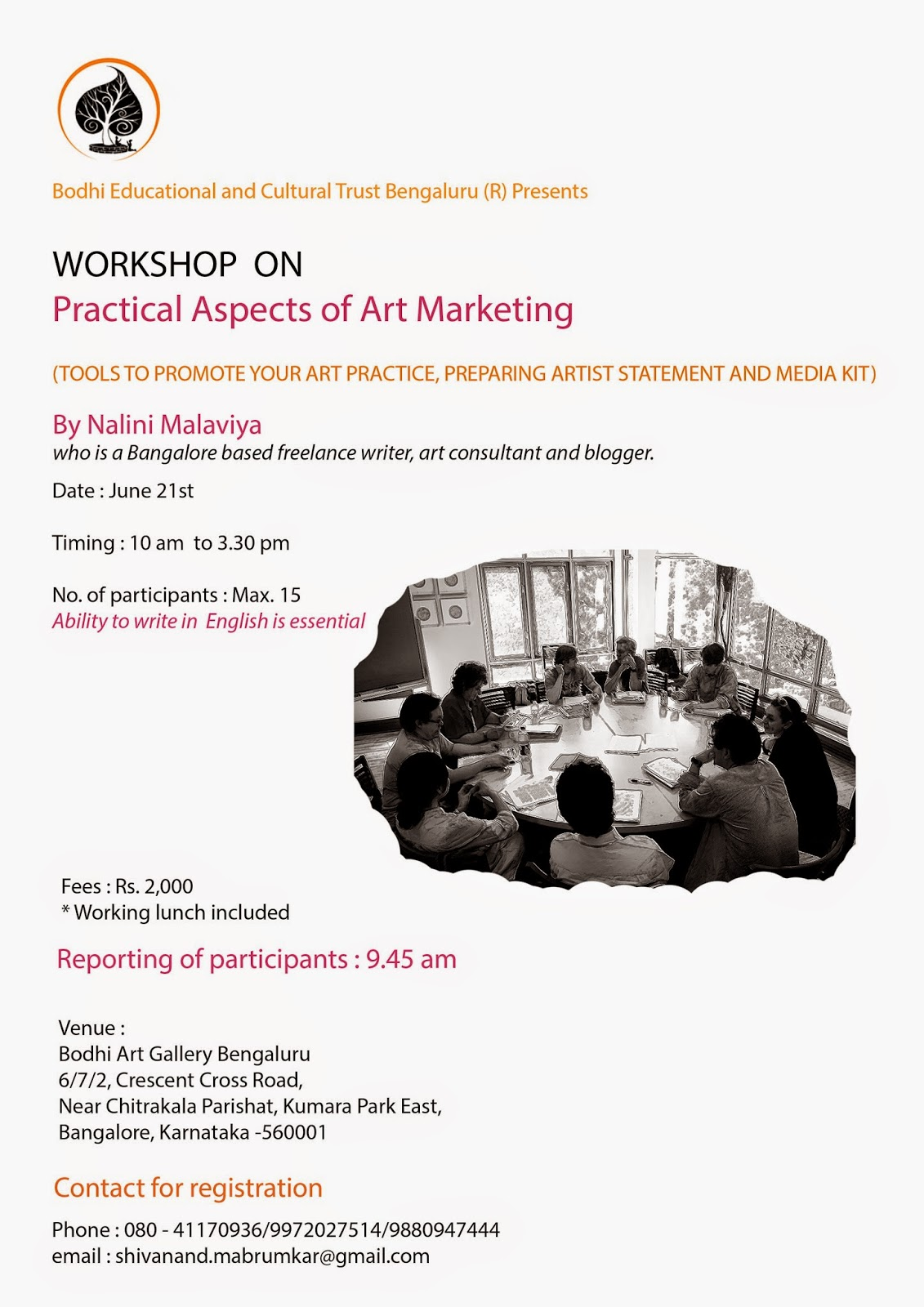 Workshop on 'Practical Aspects  of  Art Marketing' on June 2st, 2014 at Bodhi Art Gallery, Bangalore