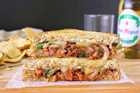 Raspberry Chipotle BBQ Chicken Grilled Cheese Sandwich