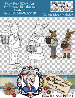 Easter Bunnies digital stamp and colour topper