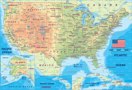on detailed maps of the united states
