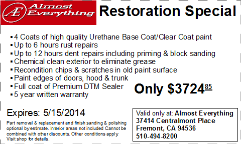 Coupon Almost Everything Restoration Special April 2013