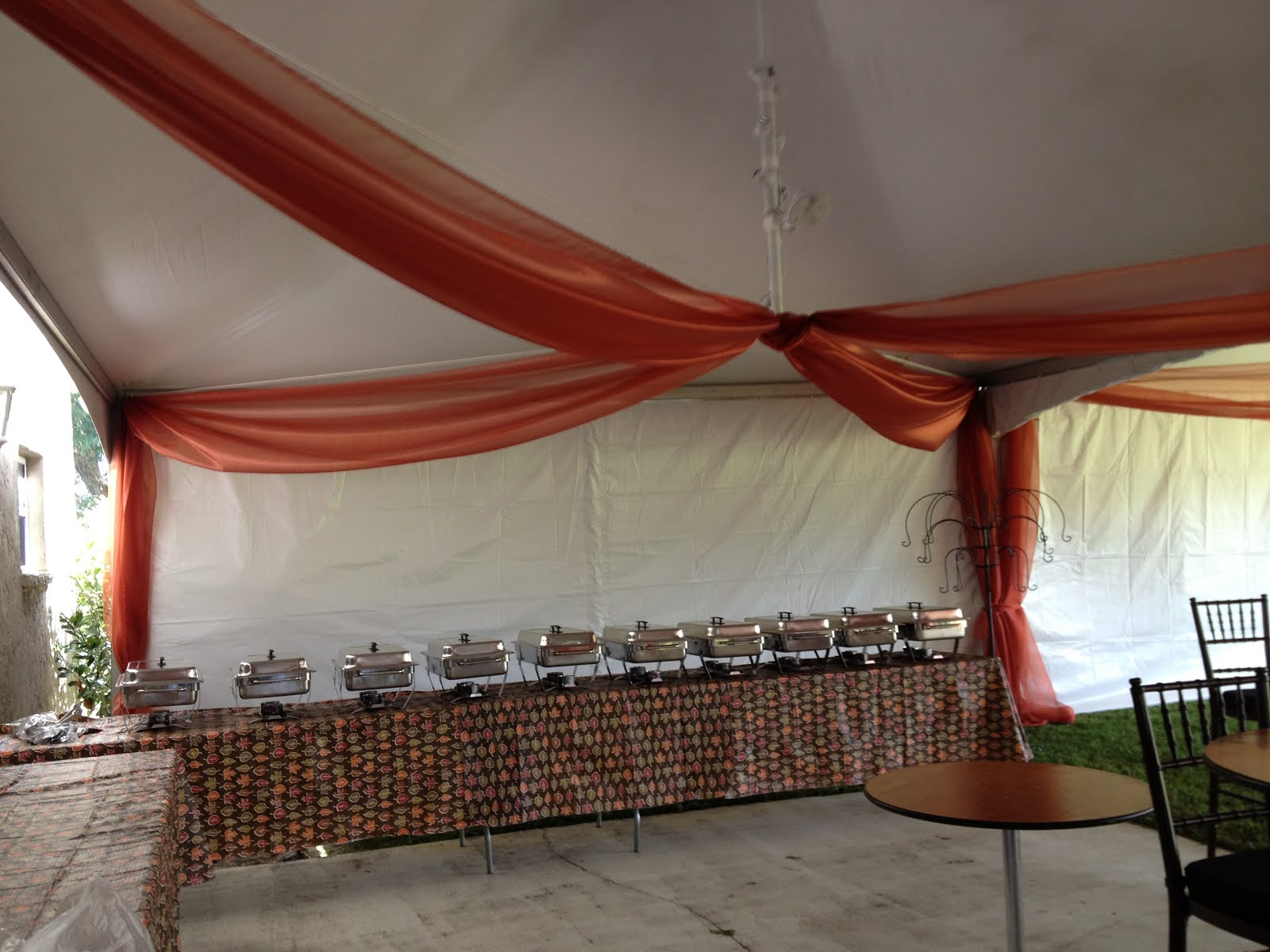 Food area Call Party People Celebration company 863-255-2025 or email partypeoplecc@msn.com to order custom organza swags for your celebration. & Party People Event Decorating Company: Rust Tent Organza Wedding