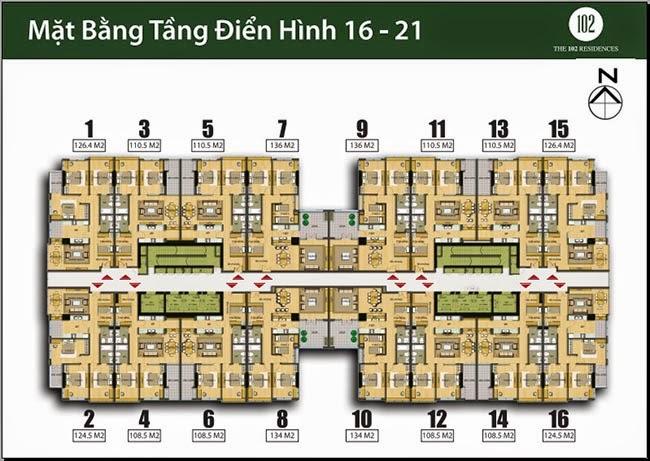 Mặt bằng căn hộ tầng 16 - 21