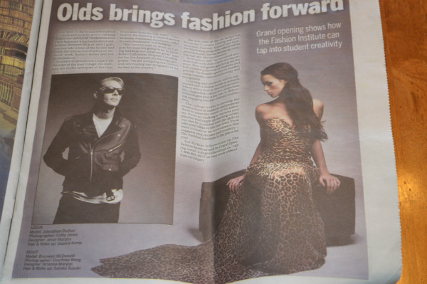 leopard print evening gown, the sun newspaper, olds college, fashion program