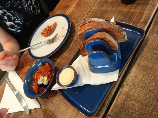 Wildflower Cafe Notting Hill - sour dough bread with beans