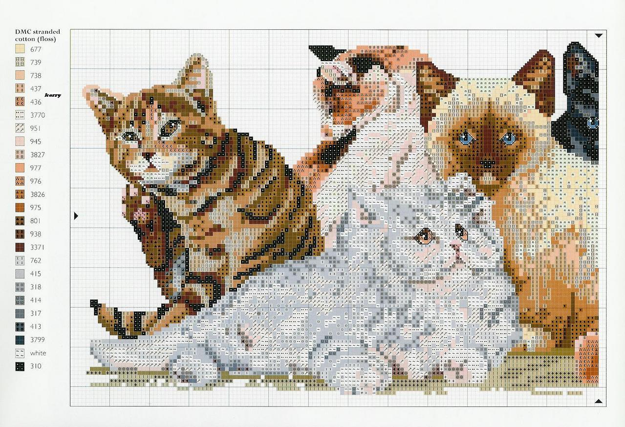 Схемы вышивок с котами 596