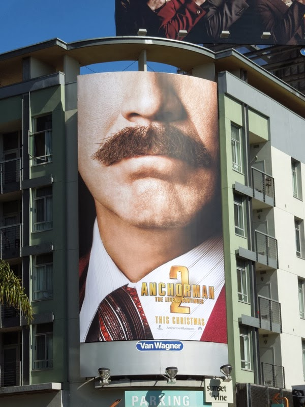 Anchorman 2 Ron Burgundy mustache billboard