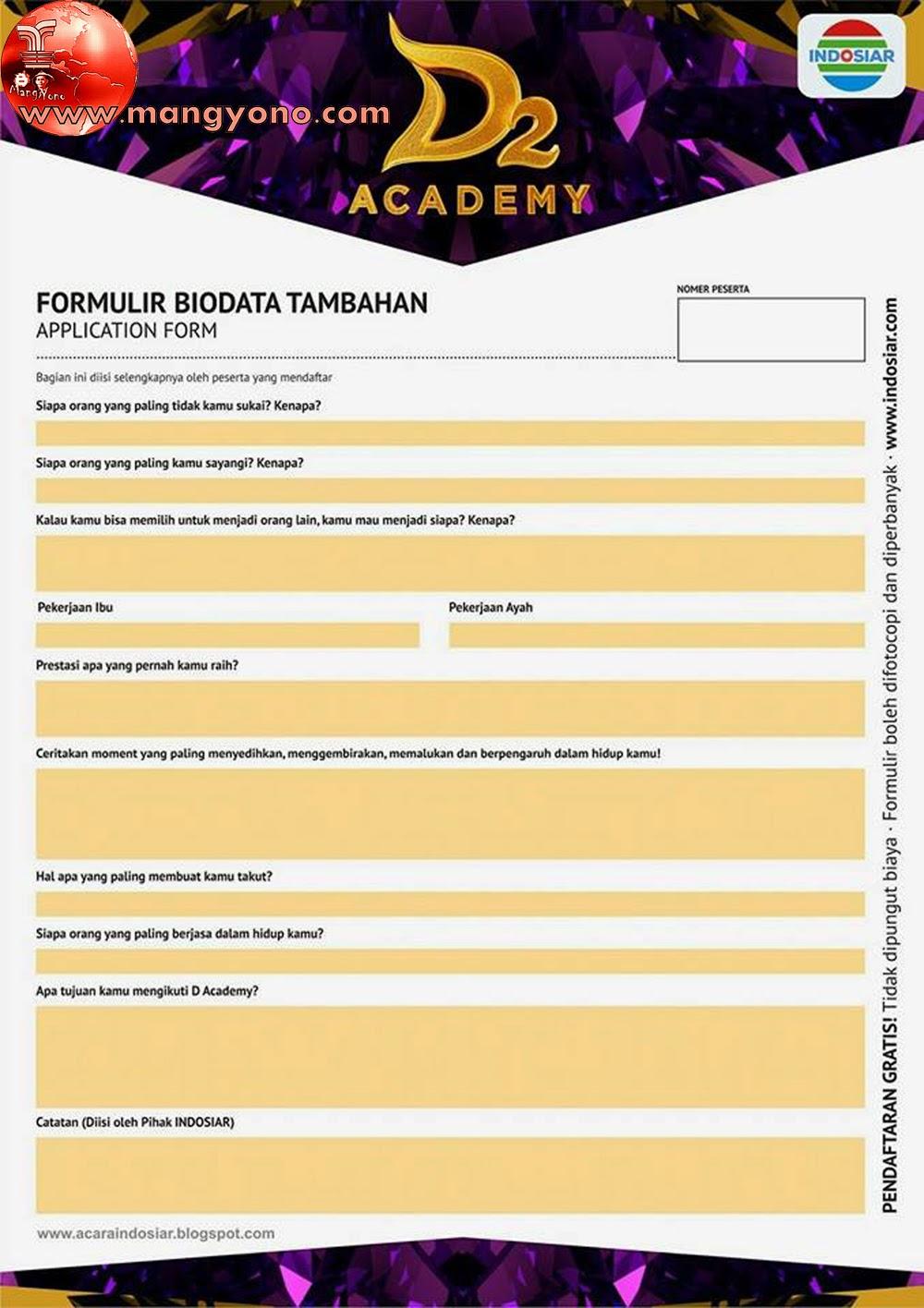 Formulir bisa di ambil di web indosiar.com