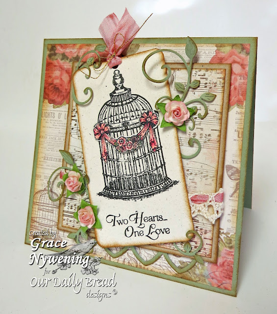 ODBD Stamps, To the Love Birds, Birdcage and Banner Die, ODBD Cathedral Window Die, designed by Grace Nywening