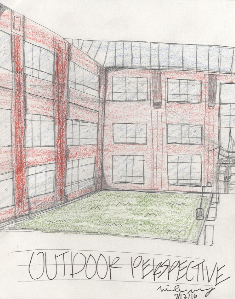 First year sketches miranda mccrory interior design for Exterior 1 point perspective