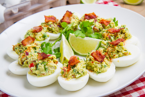 Bacon Guacamole Deviled Eggs on Closet Cooking