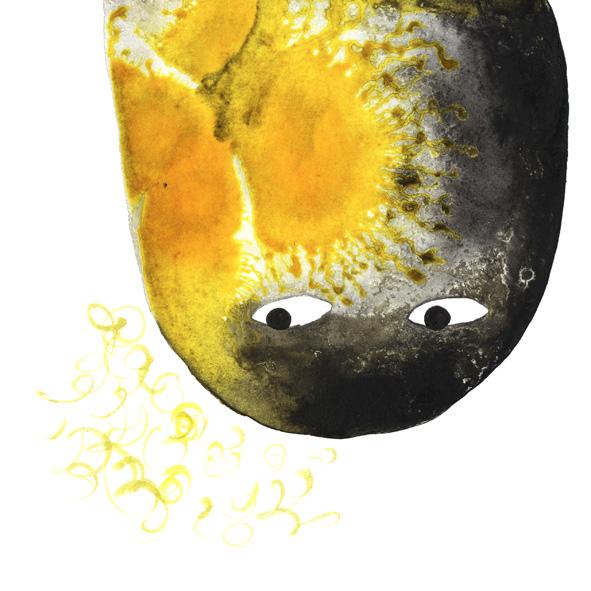 Inktober: dibujo a tinta, cabeza de monstruo negro y amarillo