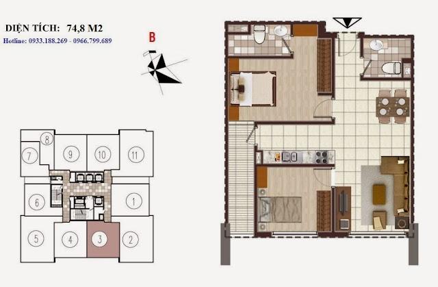 Tòa D Chung cư Golden Silk - Kim Văn Kim Lũ - Vinaconex2, Căn 74,8m2  số 3