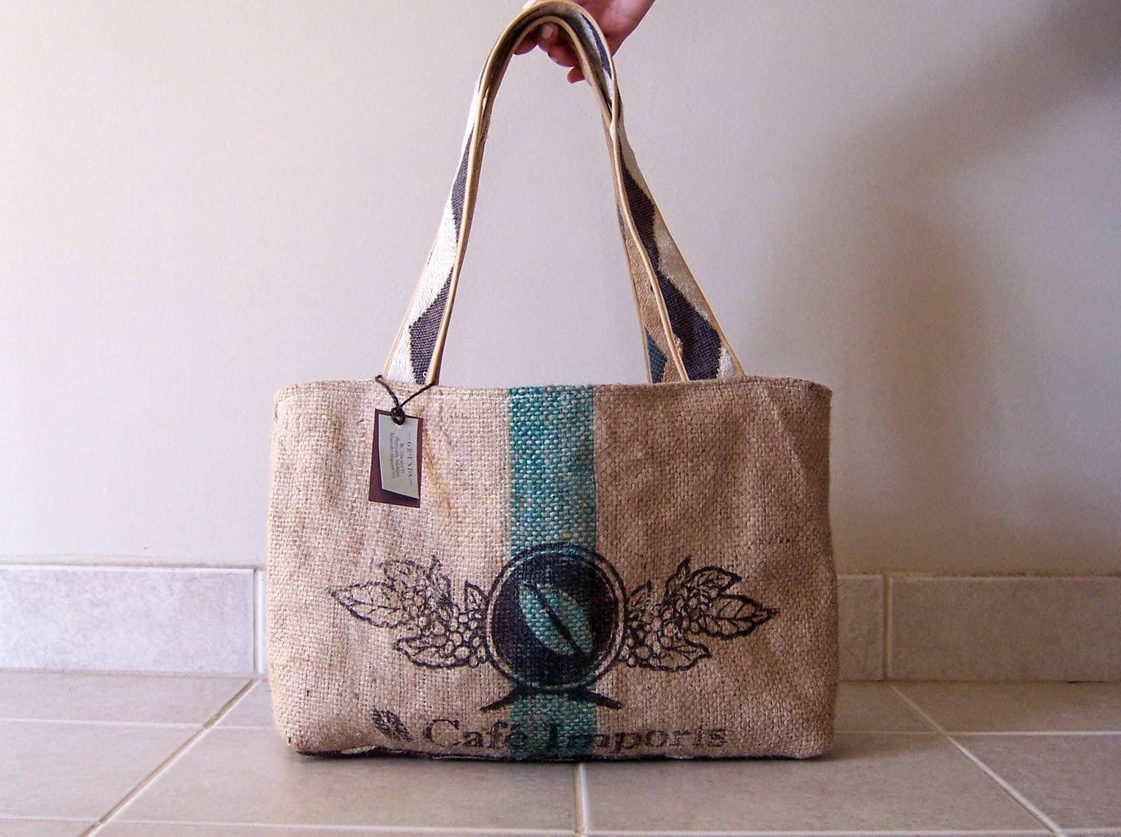 Bean burlap tote bag - Lina and Vi Plymouth MI front view