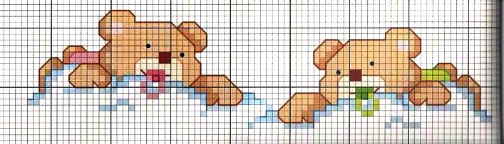 Schemi a punto croce per corredini culle abitini for Schema punto croce orsetto