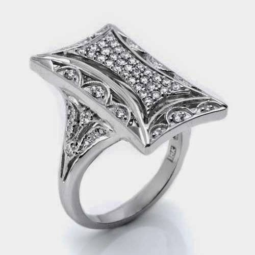 TACORI 18K .58ct Diamond Art Deco Geometric Ring