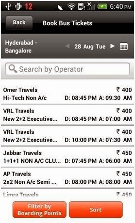 Screenshot of mybustickets.in of bus selection page