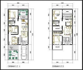 denah rumah minimalis 2 lantai 3d, denah rumah minimalis 2 lantai type 45
